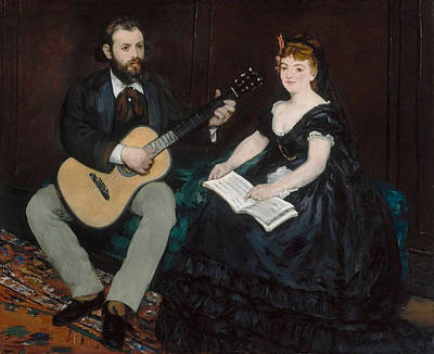 Guitar Painting - Music Lesson by Edouard Manet