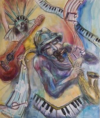 Music Man Art Print by Lee Anne Stieglitz