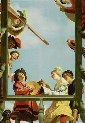 Gerrit Van Honthorst Painting - Musical Group On A Balcony by Gerard van Honthorst