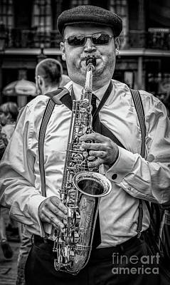 Musicians Royalty Free Images - Musician in the French Quarter - Nola Royalty-Free Image by Kathleen K Parker