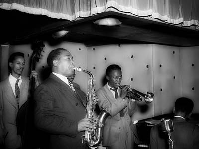 Saxophone Photograph - Music's Golden Era - Charlie Parker And Miles Davis 1947 by Mountain Dreams