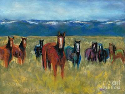 Abstract Equine Art Painting - Mustangs In Southern Colorado by Frances Marino