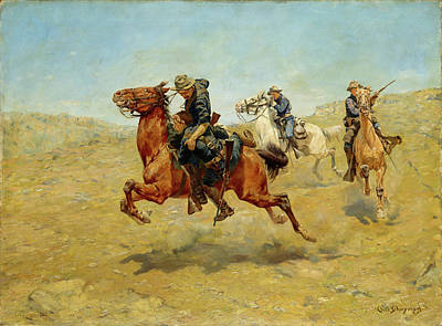 Painting - In Hot Pursuit by Charles Schreyvogel