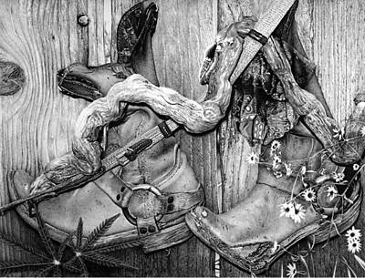 Willie Nelson Drawing - My Heroes Have Always Been Cowboys by Carole Raschella