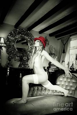 Vintage Erotica Photograph - My Red Hat by Mary Bassett