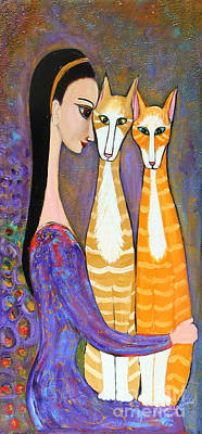 Painting - My Two Cats by Lauren  Marems