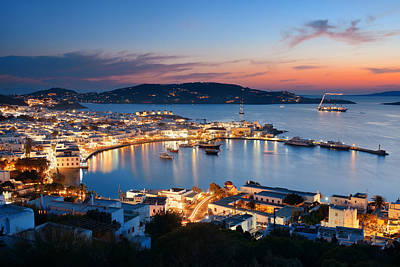 Photograph - Mykonos Bay Sunset by Songquan Deng