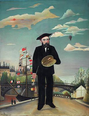 Streetscape Painting - Myself - Portrait-landscape by Henri Rousseau
