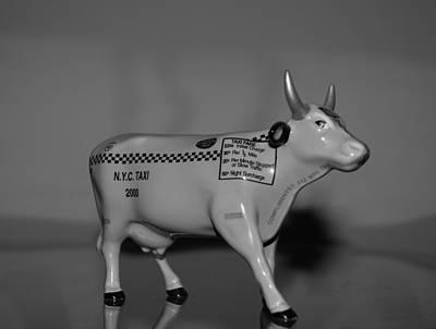 N Y C Taxi Cow Art Print by Rob Hans
