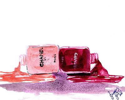 For Salons Painting - Nail Polish Bottles by Sweeping Girl