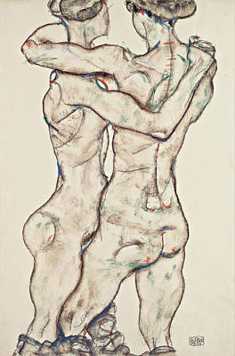 Nudity Painting - Naked Girls Embracing by Egon Schiele