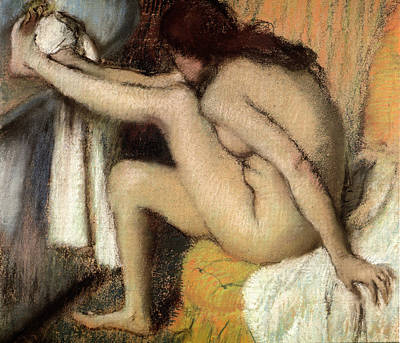 Woman Painting - Naked Woman Cleaning The Foot by Edgar Degas