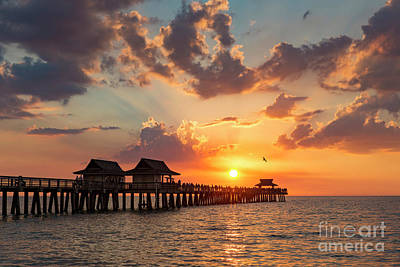 Art Print featuring the photograph Naples Pier At Sunset by Brian Jannsen