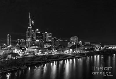 Photograph - Nashville Nite Lights B W Broadway Street Cityscape Art by Reid Callaway