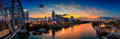 Nashville Skyline Photograph - Nashville Skyline Panorama by Brett Engle