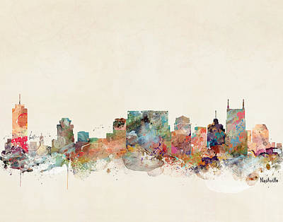 Nashville Tennessee Skyline  Art Print by Bri B