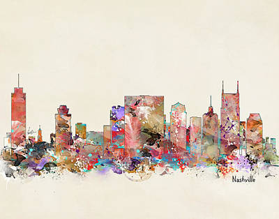 Nashville Skyline Wall Art - Painting - Nashville Tennessee Skyline by Bri Buckley