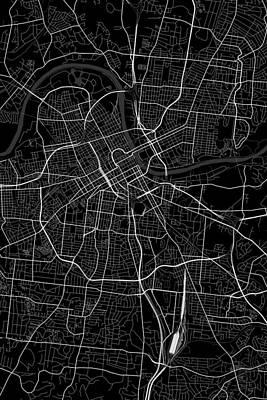 City Map Digital Art - Nashville Tennessee Usa Dark Map by Jurq Studio