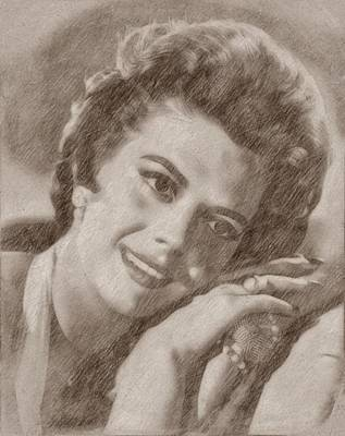 Musicians Drawings Rights Managed Images - Natalie Wood by John Springfield Royalty-Free Image by John Springfield