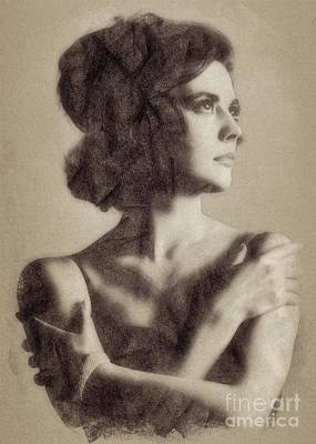 Musician Drawings - Natalie Wood, Vintage Actress by John Springfield by John Springfield