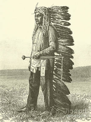 Old West Drawing - Native American  by French School