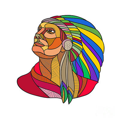 Native American Indian Chief Headdress Drawing Art Print by Aloysius Patrimonio