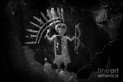 Native American Warrior Petroglyph On Sandstone Bw Art Print
