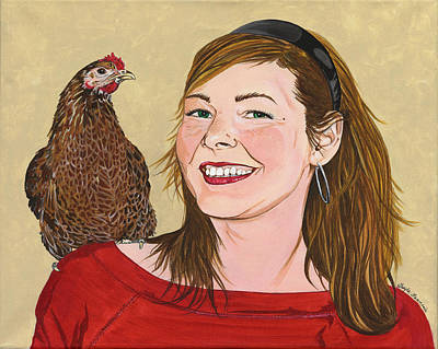 Chicken Portrait Wall Art - Painting - Natty And Me by Twyla Francois