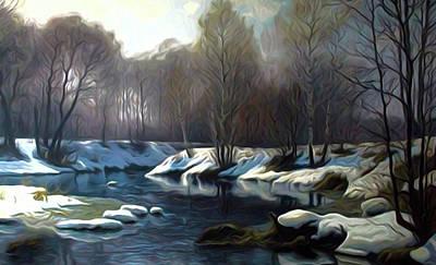 Autumn Landscape Drawing - Nature Cool Landscape by Edna Wallen
