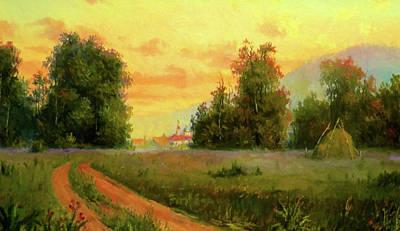 Autumn Landscape Drawing - Nature Landscape Light by Edna Wallen
