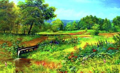 Autumn Landscape Drawing - Nature Landscape Painting by Edna Wallen