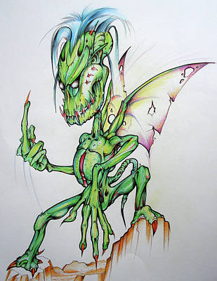 Drawing - Naughty Fairy by Brian Gibbs
