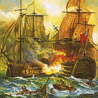 Ship. Galleon Painting - Naval Battle by English School