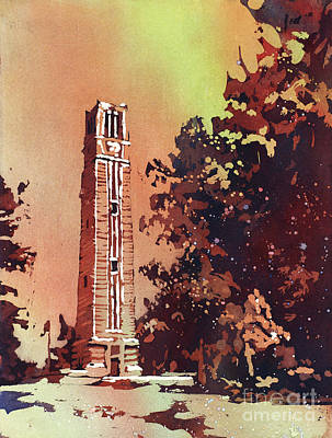 Poured Watercolours Painting - Ncsu Bell-tower by Ryan Fox