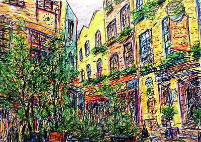 Drawing - Neal's Yard, London by K McCoy