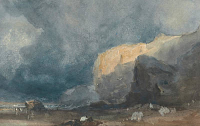 Coastal Landscape Drawing - Near Ventnor - Coastal Landscape With Dark Sky by Eugene Isabey
