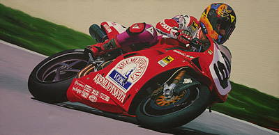 Neil Hodgson - Ducati World Superbike Art Print by Jeff Taylor