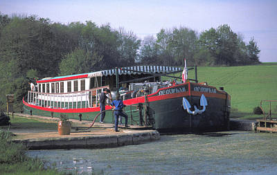 Photograph - Nenuphar Barge At Burgundy In France by Carl Purcell