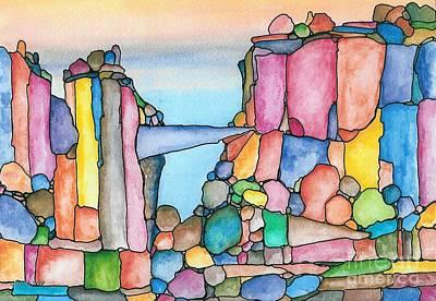Neon Rockies Version 2 Art Print by Janet Hinshaw