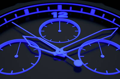 Macro Digital Art - Neon Watch Face by Allan Swart