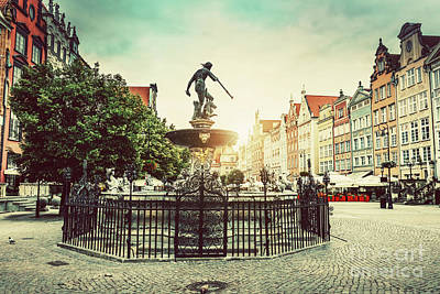 Photograph - Neptune's Fountain In The Old Town Of Gdansk. by Michal Bednarek