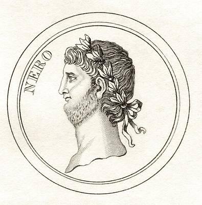 Caesar Augustus Drawing - Nero Claudius Caesar Augustus by Vintage Design Pics
