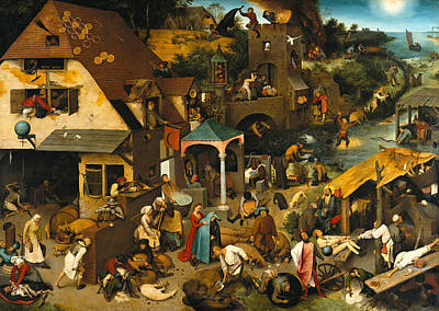 Painting - Netherlandish Proverbs by Pieter Bruegel the Elder