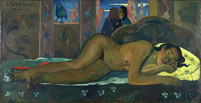Bed Painting - Nevermore by Paul Gauguin