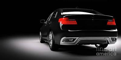 Photograph - New Black Metallic Sedan Car In Spotlight. Modern Desing, Brandless. by Michal Bednarek