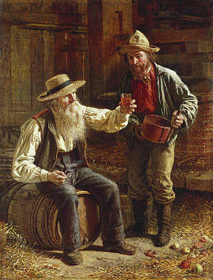 Old Barn Painting - New Cider by Thomas Waterman Wood