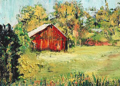 Red Barns Painting - New England Barn by Julia S Powell