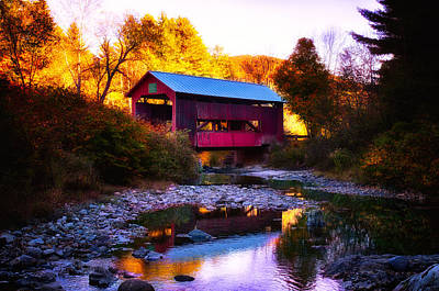 Digital Art - New England Fall Foliage Above Upper Cox Covered Bridge by Jeff Folger
