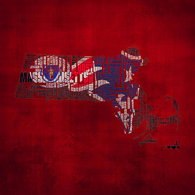 New England Patriots Typographic Map 02 Art Print by Brian Reaves
