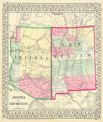 Mixed Media - New Mexico And Arizona Map Print From 1867 by Marianna Mills